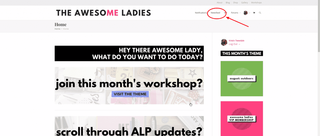 Awesome Ladies Homepage with newsfeed circled